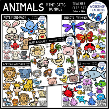 Animals 5 Mini-Sets BUNDLE Clip Art (100 graphics) Whimsy Workshop Teaching