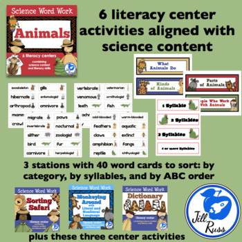 Animals: 6 Literacy Stations combining Science and Literacy for Big Kids