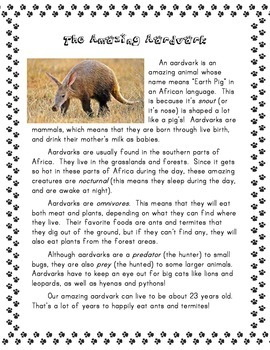 Animals A-Z Reading Comprehension Passages