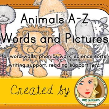 Animals A-Z - Word Wall Cards with Pictures