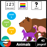Animals AUS/UK version HOW MANY, WHAT COLOUR, WHAT? level 1, level 2 and level 3