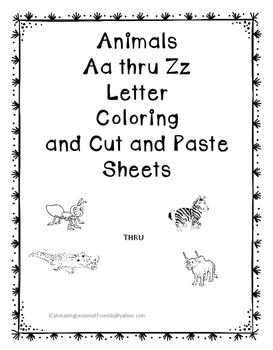 Animals Aa Thru Zz Coloring Cut and Paste Sheets
