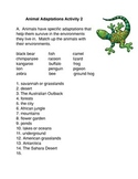 Animals Adaptations Activity #2