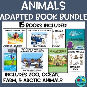 Animals Adapted Book Bundle! Interactive books, activities, speical ed, autism.