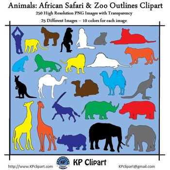 Animals African Safari and Zoo Animals Outlines Clipart