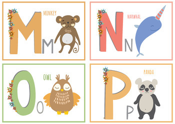 Animals Alphabet Flash Cards