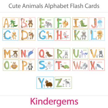 Animals Alphabet Flash Cards; Kindergarten; Preschool; Homeschool; Literacy