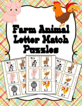 Animals Alphabet Letter Match Puzzles Bundle