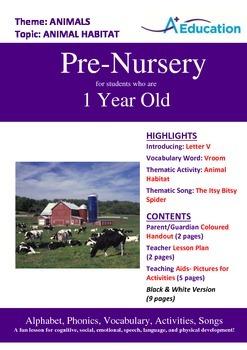 Animals - Animal Habitat : Letter V : Vroom - Pre-Nursery (1 year old)