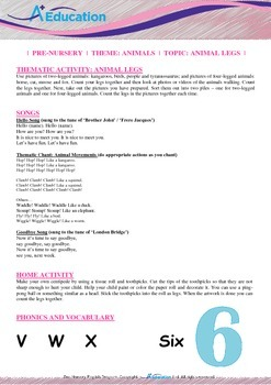 Animals - Animal Legs : Letter X : Six - Pre-Nursery (1 year old)
