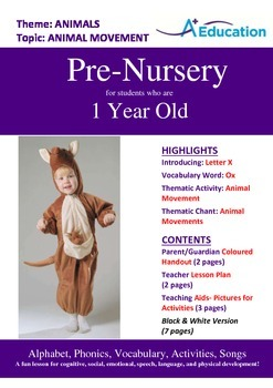 Animals - Animal Movement : Letter X : Ox - Pre-Nursery (1 year old)