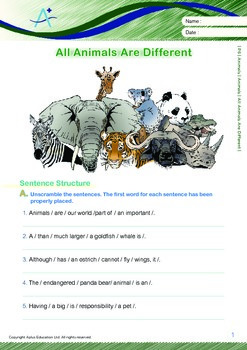 Animals - Animals: All Animals Are Different - Grade 6