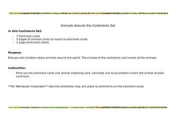 Animals Around the Continents Set