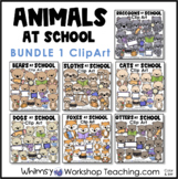 Animals At School Clip Art Bundle 1 Cats Dogs Raccoons Otters Sloths Bears Foxes