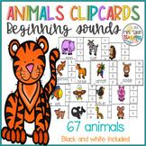 Animals Beginning Sounds Clip Cards - Phonics Game
