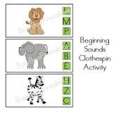 Animals Beginning Sounds Clothespin Activity - Preschool K