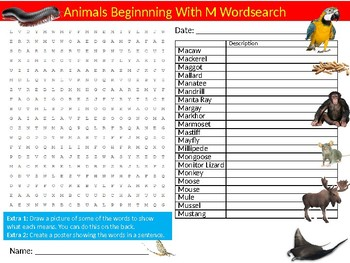Animals Beginning with M Wordsearch Sheet Starter Activity Keywords Nature