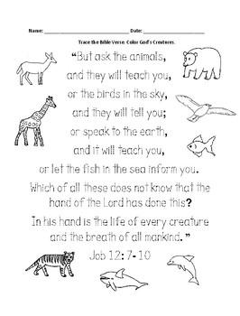 Animals Bible Verse Printable - Job 12:7-10