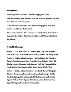 Animals Bingo Game (H&I Bingo Game Sheets) - 3 X 3