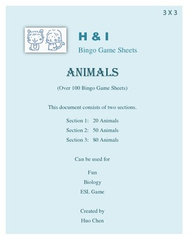 Animals Bingo Game (H&I Bingo Game Sheets) - 3 X 3