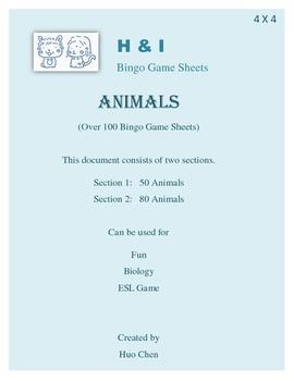 Animals Bingo Game (H&I Bingo Game Sheets) - 4 X 4