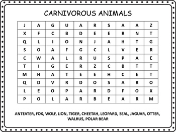Animals, Birds and Water Animals Word Search, No Prep Sub Plan