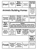 """Animals Building Homes"" Journeys comprehension game board"