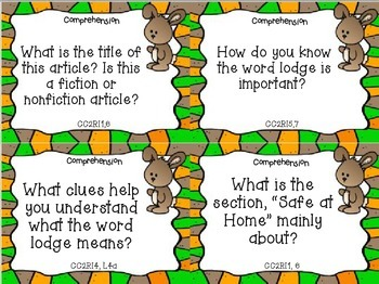 Animals Building Homes Review Task Cards for Houghton Mifflin Journeys