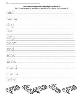 Animals Building Homes Spelling Practice