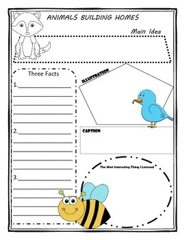 Animals Building Homes Story Map Graphic Organizer