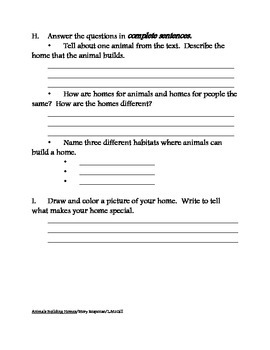 Animals Building Homes Story Response