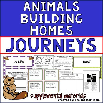 Animals Building Homes Journeys 2nd Grade Unit 2 Lesson 6 Activities