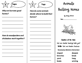 Animals Building Homes Trifold - Journeys 2nd Grade Unit 2 Week 1 (2011)