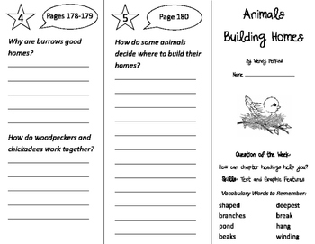 Animals Building Homes Trifold - Journeys 2nd Grade Unit 2