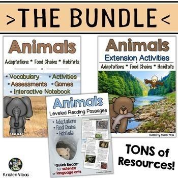 Animal Adaptations, Food Chains & Habitats BUNDLE