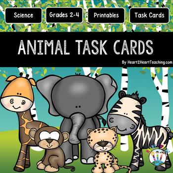 Animals: Carnivores, Herbivores, and Omnivores Task Cards with QR Codes