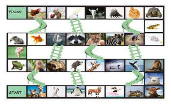 Animals Legal Size Photo Chutes and Ladders Game
