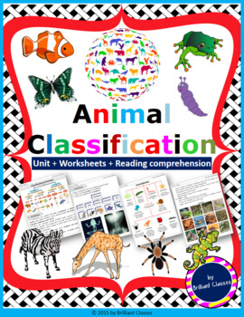 Animals Classification Pack - Whole animal kingdom with Worksheets