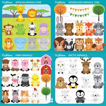 Animals Clip Art Bundle | Woodland Animals | Farm Animals | African Animals