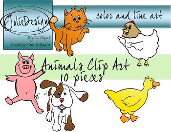 Animals Clipart - Color and Line Art 10 pc set, short vowel animals