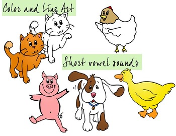 Animals Clipart - Color and Line Art 10 pc set, short vowel animals