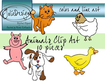 Animals Clip Art - Color and Line Art 10 pc set