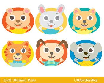 Animals Clip Art - Cute Animal kids Characters Set