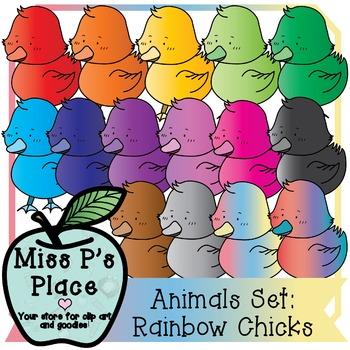 Animals Clip Art Set: Rainbow Chicks [Miss P's Place]