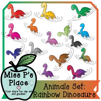 Animals Clip Art Set: Rainbow Dinosaurs [Miss P's Place]