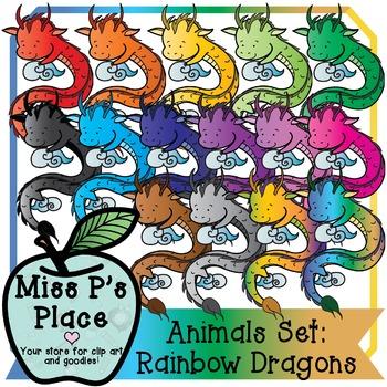 Animals Clip Art Set: Rainbow Dragons [Miss P's Place]