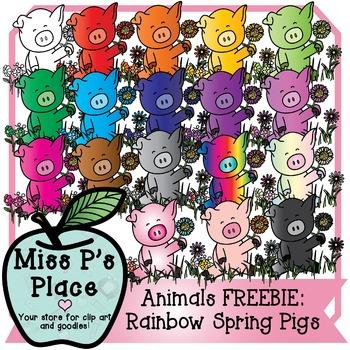 Animals Clip Art Set: Rainbow Spring Pigs FREEBIE [Miss P'