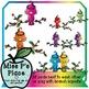 Animals Clip Art Set: Rainbow Tropical Branch Birds [Miss P's Place]