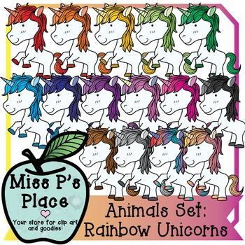 Animals Clip Art Set: Rainbow Unicorns [Miss P's Place]