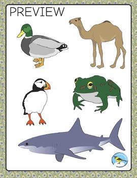 Animals Clip Art: animals of multiple habitats